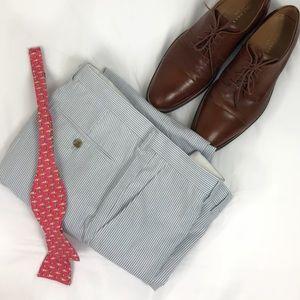 J. Crew Seersucker Thompson Slim, Blue 100% Cotton
